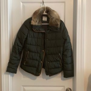Puffer fur lined collar coat